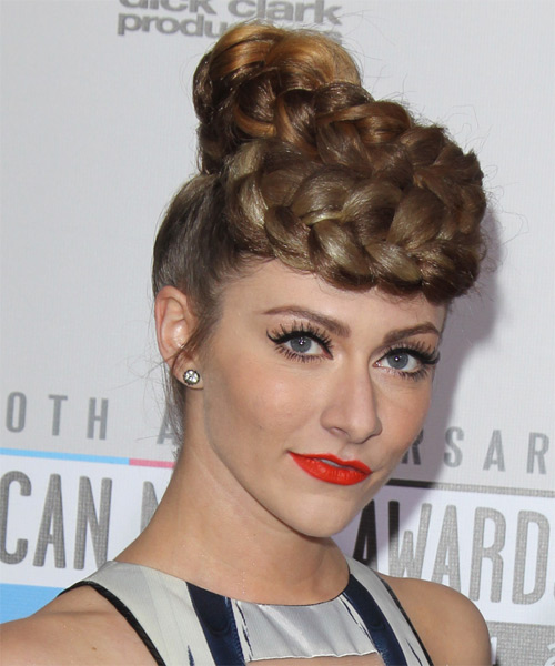 Updo Long Straight Formal Updo  - Medium Brunette (Chestnut) - Side on View