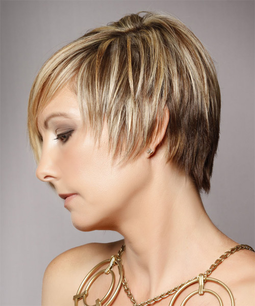 Short Straight Alternative  Asymmetrical  Hairstyle with Side Swept Bangs  - Medium Golden Blonde Hair Color with Light Blonde Highlights - Side on View