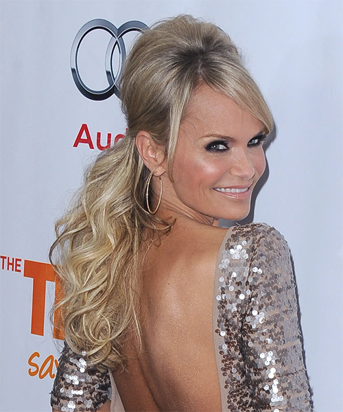Kristin Chenoweth  Long Curly    Champagne Blonde  Half Up Hairstyle with Side Swept Bangs  and Light Blonde Highlights - Side on View