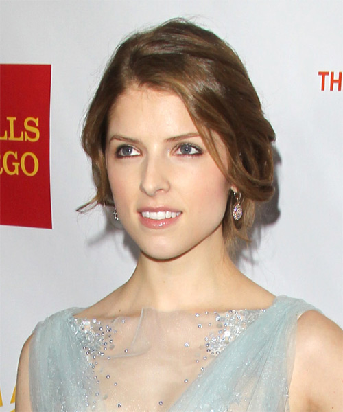 Anna Kendrick Updo Long Straight Casual  Updo Hairstyle   - Medium Brunette - Side on View