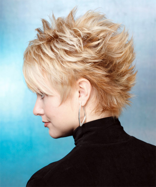 Short Straight Alternative   Hairstyle   - Light Blonde (Golden) - Side on View