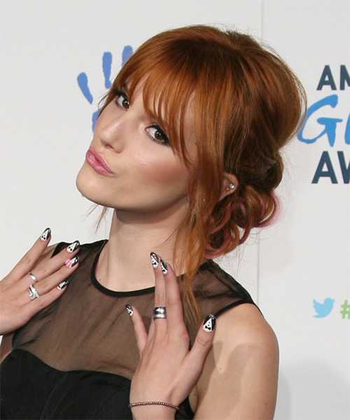 Bella Thorne  Long Straight    Ginger Red  Updo  with Blunt Cut Bangs  - Side on View