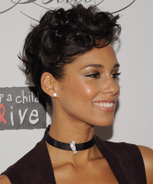 Alicia Keys  Medium Curly Formal   Updo Hairstyle   - Dark Mocha Brunette Hair Color - Side on View