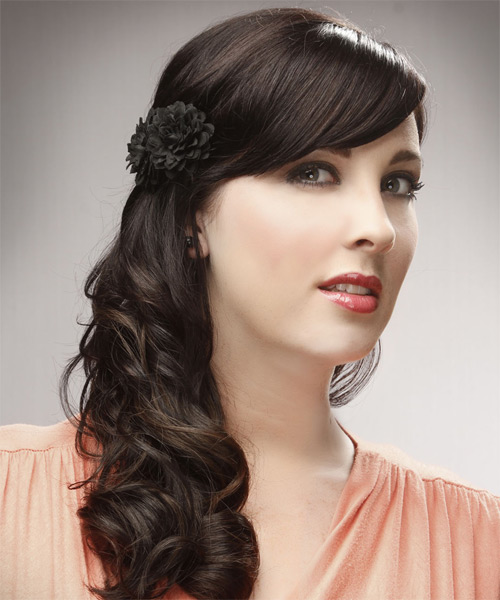 Half Up Long Curly Formal Wedding Half Up Hairstyle with Side Swept Bangs  - Dark Brunette - Side on View