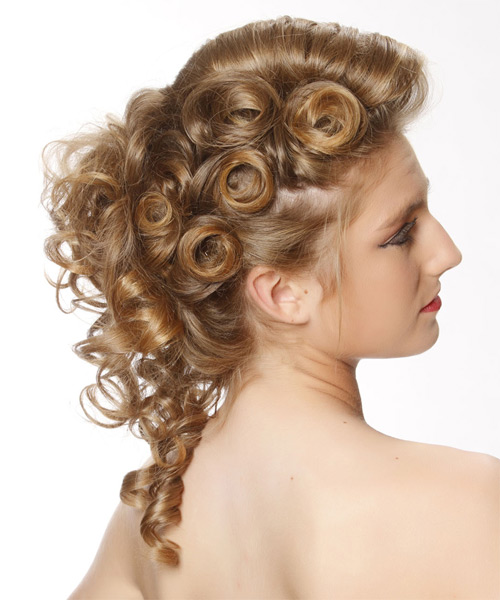 Updo Long Curly Formal Wedding Updo Hairstyle   - Dark Blonde - Side on View
