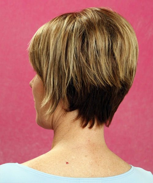 Short Straight Formal    Hairstyle with Side Swept Bangs  - Dark Blonde Hair Color with Light Blonde Highlights - Side on View