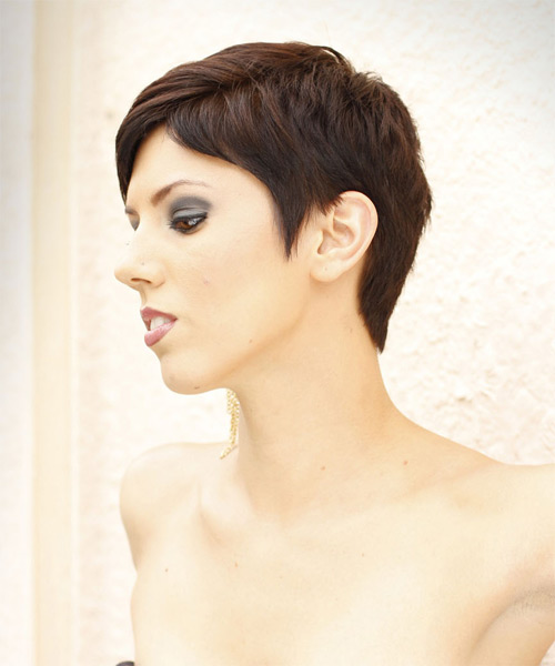 Short Straight Formal  Pixie  Hairstyle with Side Swept Bangs  -  Mocha Brunette Hair Color - Side on View