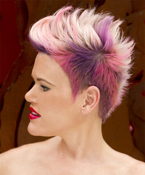 Short Straight Alternative   Hairstyle   - Pink (Bright) - Side on View
