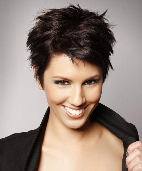 Layered  Dark Mocha Brunette Pixie  Cut   - Side on View