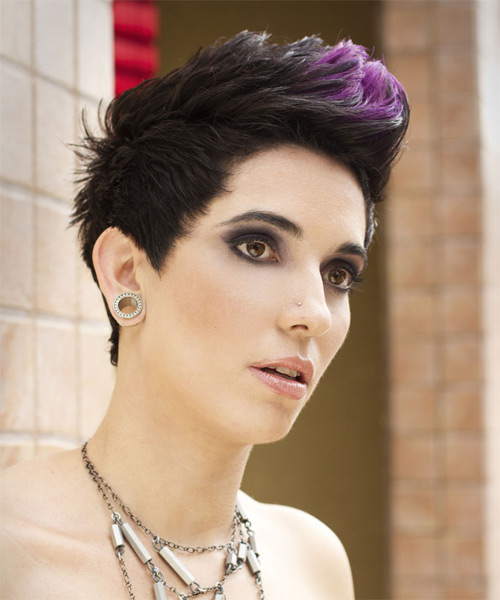 Short Straight Alternative    Hairstyle   - Purple  Hair Color with Purple Highlights - Side on View