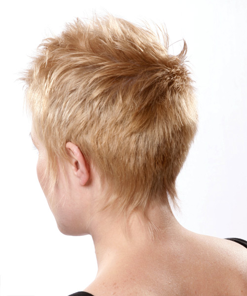 Short Straight Alternative   Hairstyle   - Medium Blonde - Side on View
