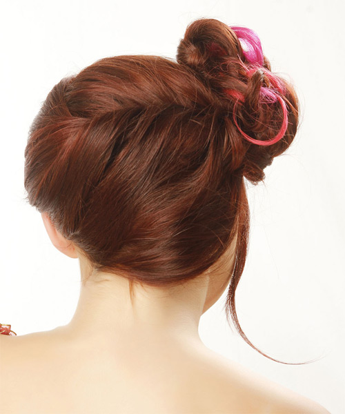 Long Straight Formal   Updo Hairstyle with Side Swept Bangs  -  Red Hair Color - Side on View