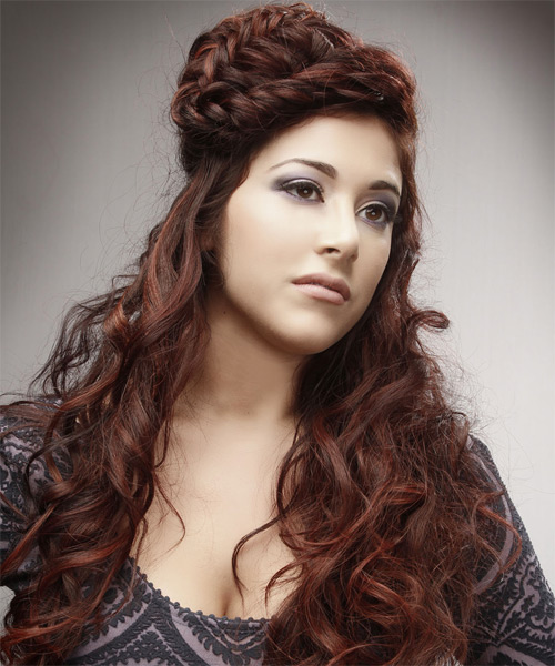 Long Curly Alternative  Braided Updo Hairstyle   -  Auburn Brunette Hair Color - Side on View