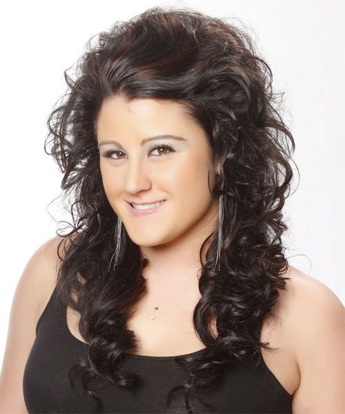 Long Curly Formal   Hairstyle   - Black - Side on View