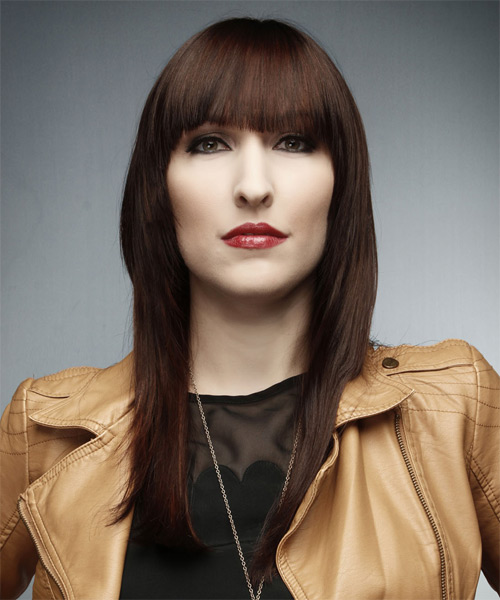 Long Straight Formal    Hairstyle with Blunt Cut Bangs  -  Auburn Brunette Hair Color - Side on View