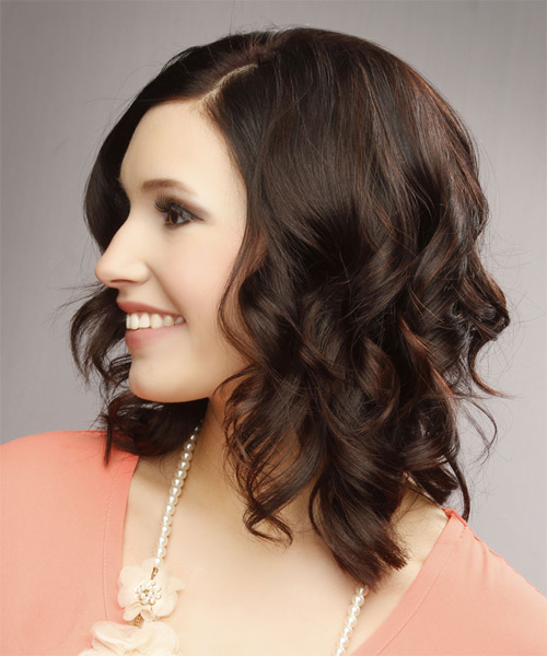 Medium Wavy Casual   Hairstyle   - Dark Brunette - Side on View