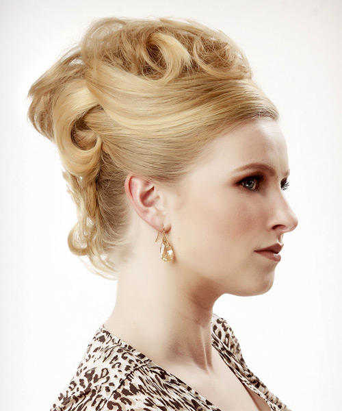 Long Curly   Honey  Updo    with Light Blonde Highlights - Side on View