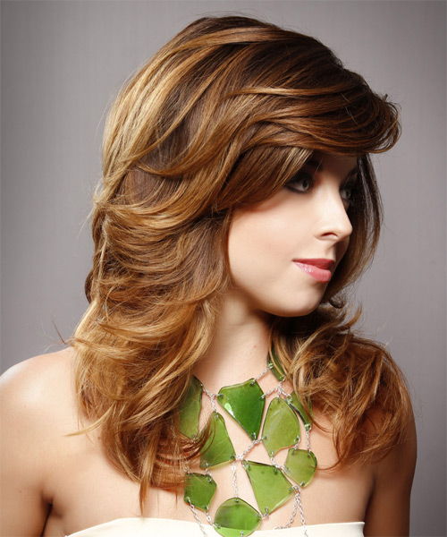 Long Straight Formal    Hairstyle with Side Swept Bangs  -  Chestnut Brunette Hair Color with  Blonde Highlights - Side on View