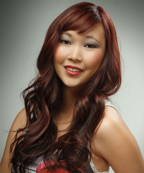 Long Wavy Casual    Hairstyle with Blunt Cut Bangs  - Dark Red Hair Color with  Red Highlights - Side on View