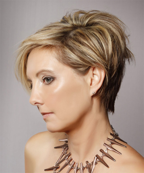 Short Straight   Dark Blonde   Hairstyle   with Light Blonde Highlights - Side on View