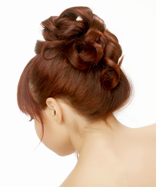 Long Straight Formal   Updo Hairstyle with Blunt Cut Bangs  - Medium Red Hair Color - Side on View