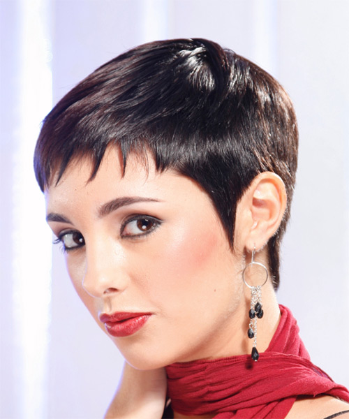 Short Straight Formal    Hairstyle   - Mocha Hair Color - Side on View