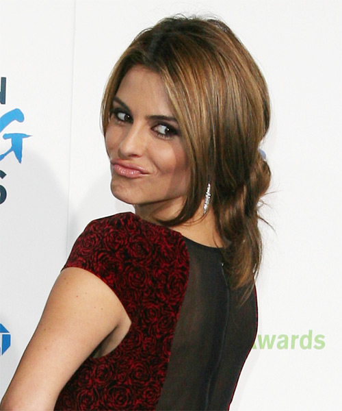 Maria Menounos Updo Long Straight Casual Wedding Updo Hairstyle   - Medium Brunette - Side on View