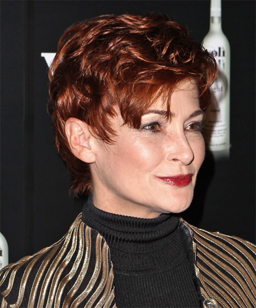 Carolyn Hennesy Short Straight    Red   Hairstyle   - Side on View
