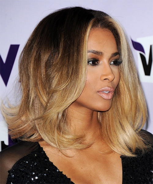 Ciara Medium Straight Formal   Hairstyle   - Medium Brunette - Side on View