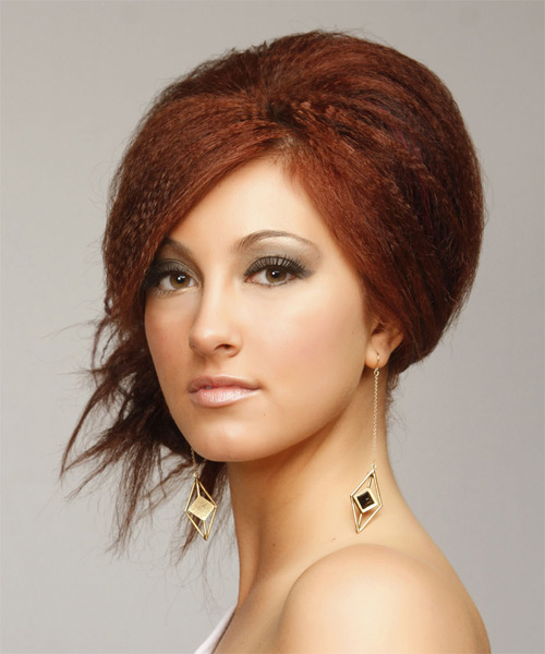 Long Straight Casual  Emo Updo Hairstyle   -  Red Hair Color - Side on View