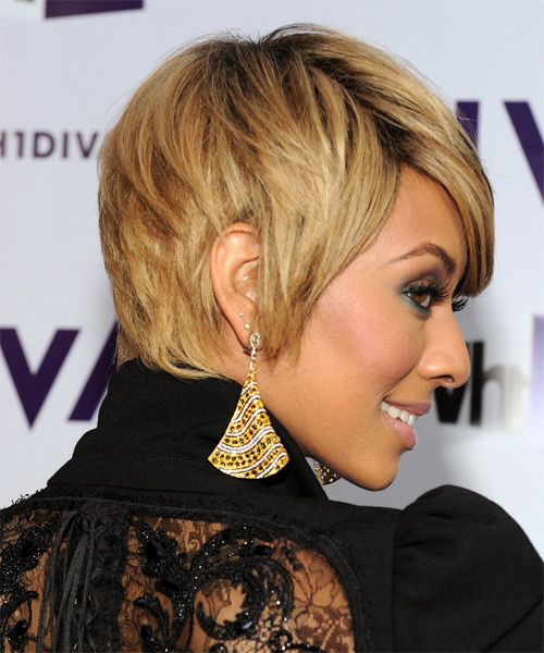 Keri Hilson Short Straight Casual    Hairstyle with Side Swept Bangs  - Medium Champagne Blonde Hair Color with Black Highlights - Side on View