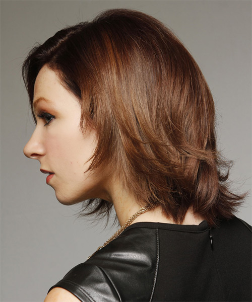 Medium Straight Casual   Hairstyle   - Dark Brunette (Chocolate) - Side on View