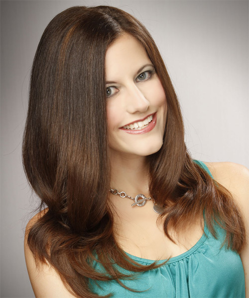 Long Straight Formal   Hairstyle   - Medium Brunette (Caramel) - Side on View