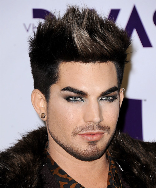 Adam Lambert Short Straight Casual    Hairstyle   - Black  and Light Brunette Two-Tone Hair Color - Side on View