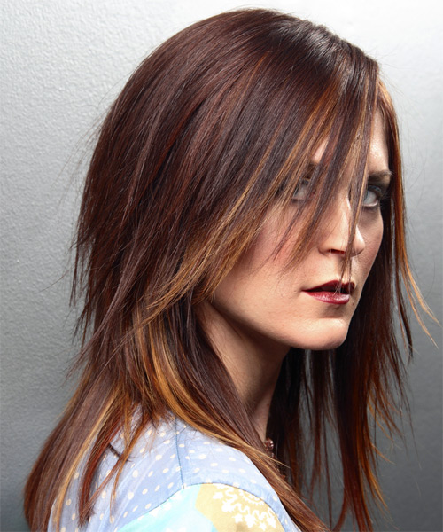 Long Straight Alternative   Hairstyle   - Medium Brunette - Side on View