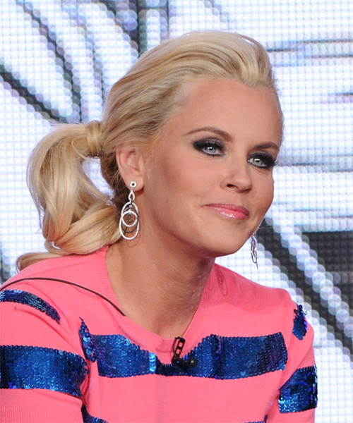 Jenny McCarthy  Long Curly Casual   Updo Hairstyle   - Light Blonde Hair Color - Side on View