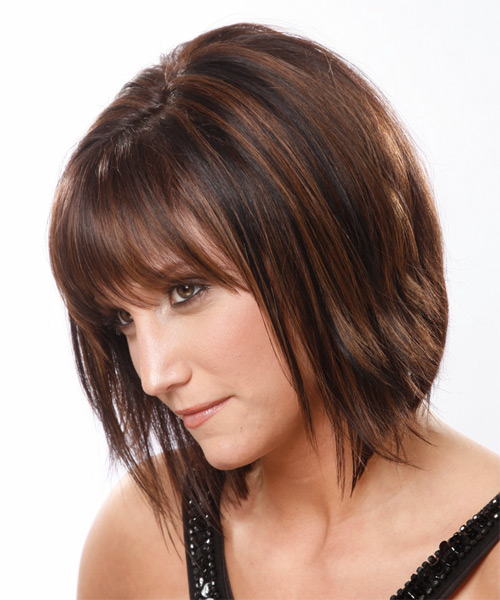Medium Straight Formal    Hairstyle with Layered Bangs  - Medium Mocha Brunette Hair Color - Side on View