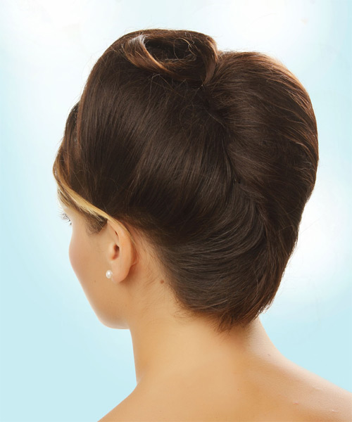 Long Straight    Brunette  Updo    - Side on View