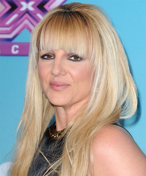 Britney Spears Long Straight Casual Hairstyle With Blunt Cut Bangs Light Blonde Hair Color
