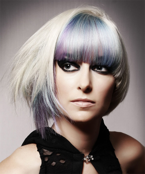 Medium Straight Alternative  Emo  Hairstyle with Blunt Cut Bangs  - Light Platinum Blonde and Purple Two-Tone Hair Color - Side on View