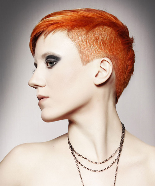 Short Straight Casual   Hairstyle   - Medium Red (Ginger) - Side on View