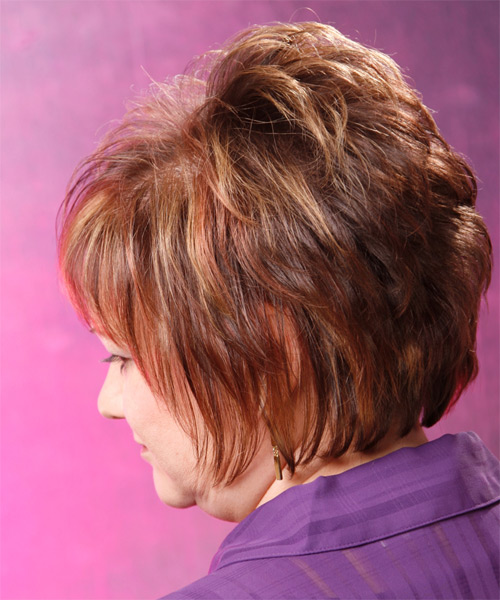 Short Straight Formal    Hairstyle with Layered Bangs  - Medium Auburn Brunette Hair Color - Side on View