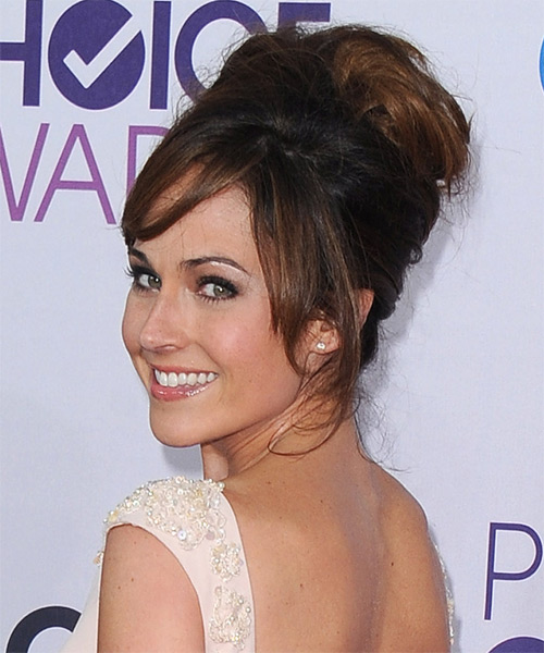 Nikki DeLoach  Long Straight    Auburn Brunette  Updo  with Side Swept Bangs  - Side on View