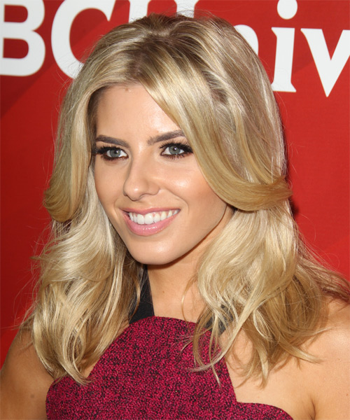 Mollie King Long Straight Formal    Hairstyle   -  Blonde Hair Color - Side on View