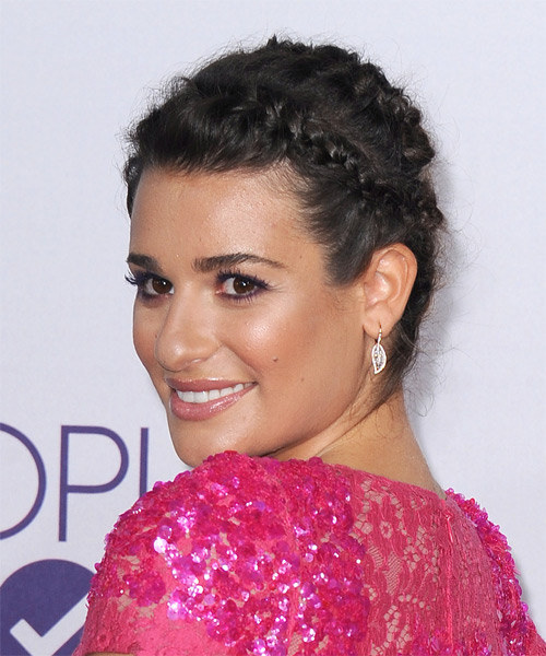 Lea Michele  Long Straight Casual  Braided Updo Hairstyle   - Dark Brunette Hair Color - Side on View