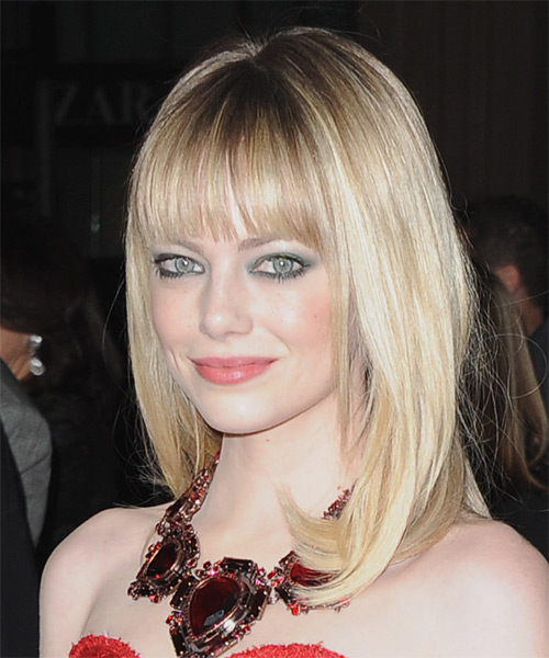 Emma Stone Long Straight Formal   Hairstyle with Blunt Cut Bangs  - Medium Blonde (Champagne) - Side on View