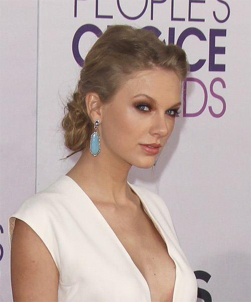 Taylor Swift  Long Curly Casual  Braided Updo Hairstyle   - Light Caramel Brunette Hair Color - Side on View