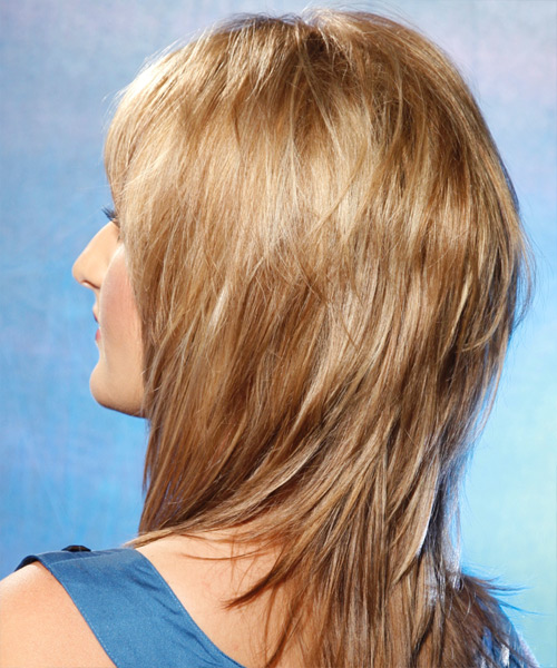 Long Straight Casual    Hairstyle with Side Swept Bangs  - Golden Hair Color - Side on View