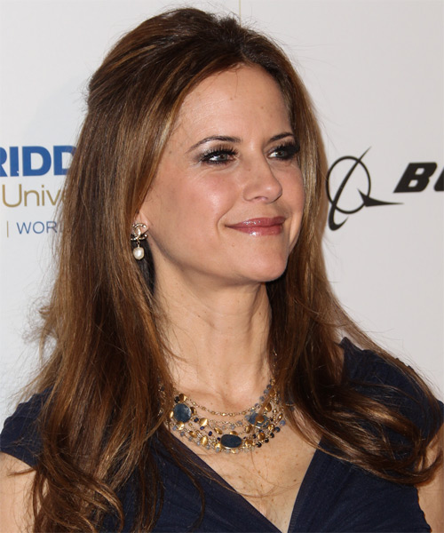 Kelly Preston  Long Straight Casual   Half Up Hairstyle   - Medium Auburn Brunette Hair Color with Dark Blonde Highlights - Side on View
