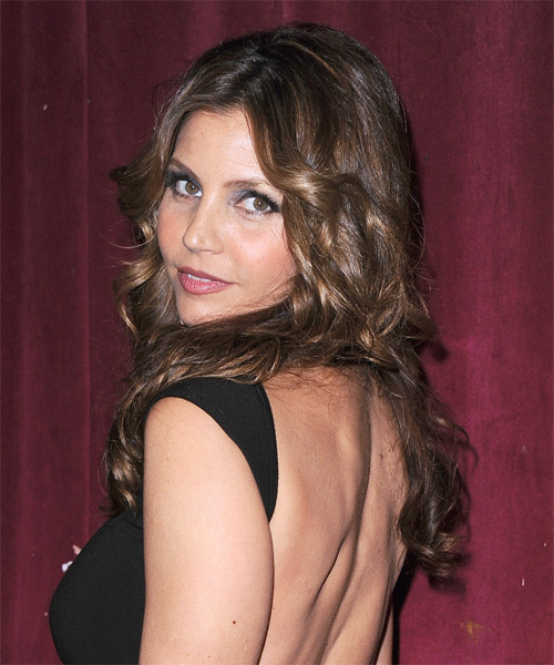 Charisma Carpenter Long Wavy Formal   Hairstyle   - Dark Brunette - Side on View